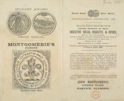 Advert for Montgomerie's Bread & Biscuits
